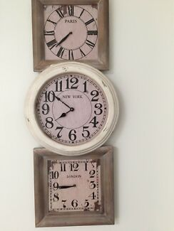 LARGE SHABBY CHIC TIMBER CLOCK 3 TIME ZONES