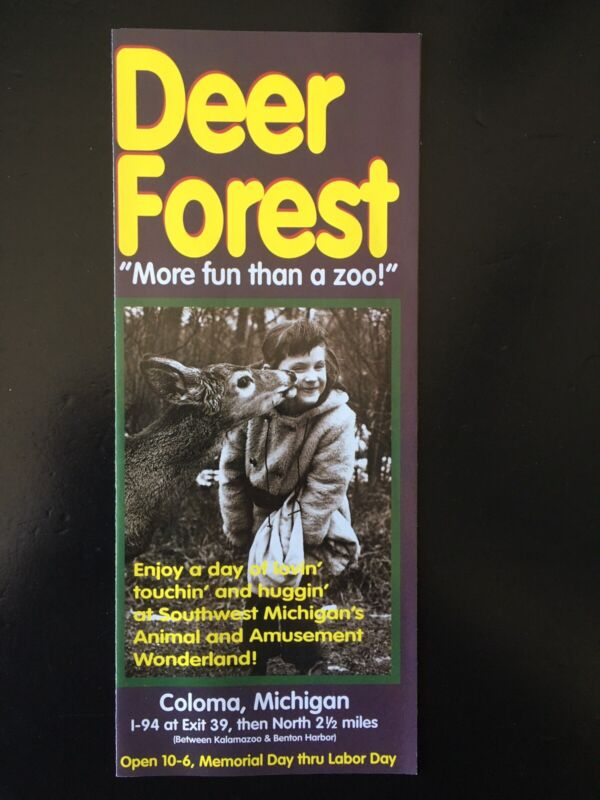 1994 Deer Forest Brochure Coloma Michigan Roadside Attraction Paw Paw Lake