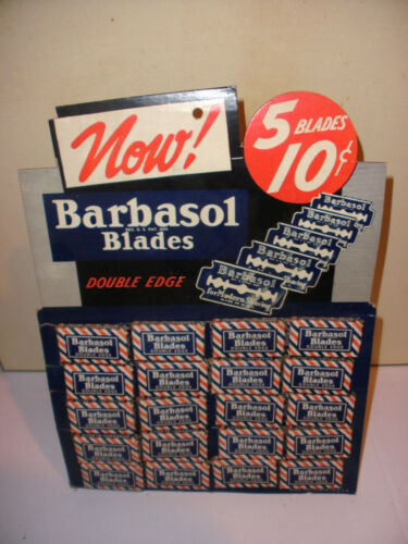Vintage advertising Barbasol store Display stand with double edge shaving razors