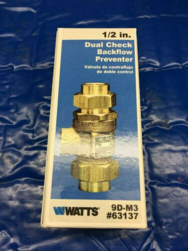 "New Watts 9D-M3 1/2"" 63137 Dual Check Backflow Preventer FIP"