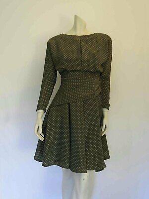 80s Dresses | Casual to Party Dresses Olive Green Polka Dot Dress by Miss Selfridge - 1980s - Bust 81 cm $46.03 AT vintagedancer.com