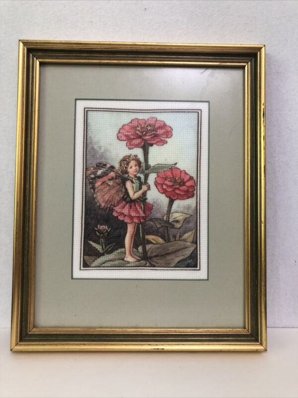 Framed Finished Counted Cross Stitch Flowers Fairy