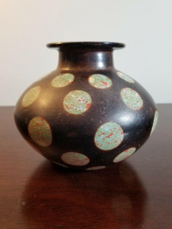 "Vintage Pottery Vase Signed Paititi Peru 2002  Polka Dots 4"""