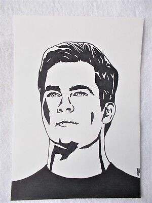 A4 Art Marker Pen Sketch Drawing Chris Pine Captain Kirk from Star Trek Poster