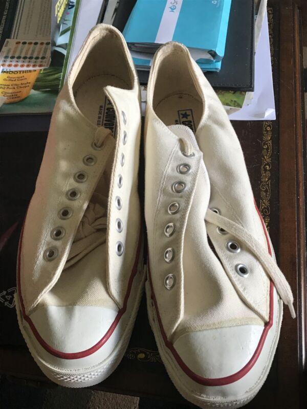 Vintage White Converse Chuck Taylor All Star  Blue Label USA Sz11