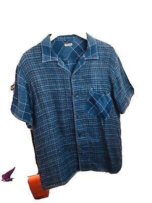 KAPITAL 100% Linen Short Sleeve Shirt Blues/Plaid Check Size 4 L/XL MINT