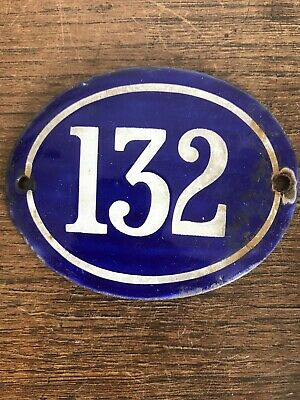 Genuine Early 20thC FRENCH HOUSE NUMBER 132-Enamel-Gate Post Door- Oval-Convex