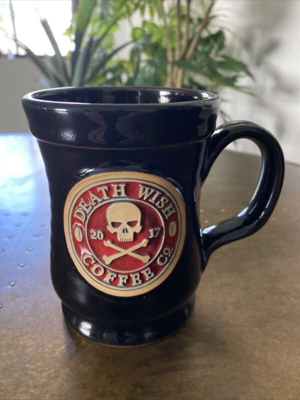 2017 Death Wish Skull & Bones 12 oz. Coffee Mug Deneen Pottery FREE SHIPPING