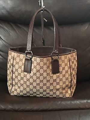 Authentic Vintage Gucci Tote Bag Purse Logo Signature Canvas Leather Trim Brown
