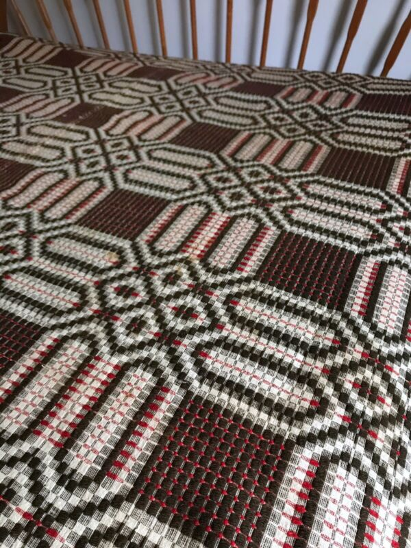 Vintage Antique Overshot Woven Wool Wool Coverlet Brown Red White Full Double