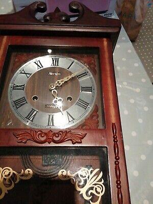 Acctim Pendulum Chiming Clock With Wooden Casing Working Order Slight Damage...