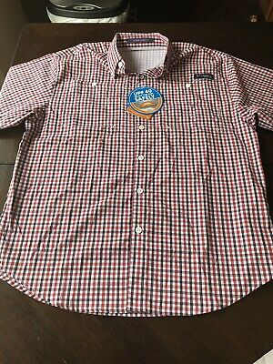 0e2d6e75 NWT Columbia PFG Vented Mens Medium Super Tamiami Flannel Fishing Shirt B3