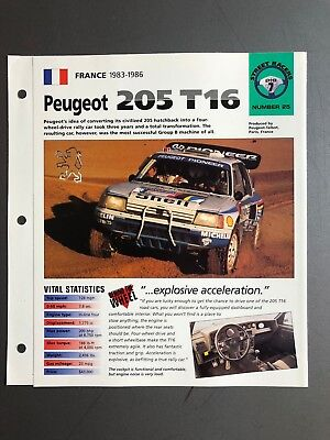 "1983 - 1986 Peugeot 205 T16 Coupe IMP ""Hot Cars"" Spec Sheet Folder Brochure L@@K"