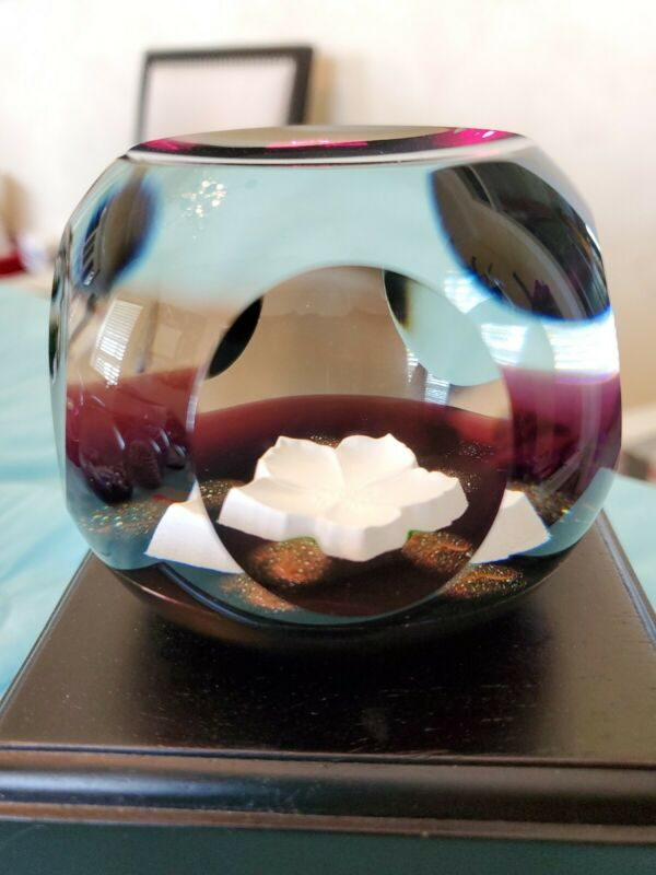 Caithness Christmas Rose Sulphide Paperweight