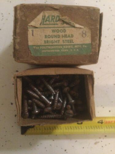 """Vintage So Hard Screws Round Head Bright Steel """"8 x 1"""""""