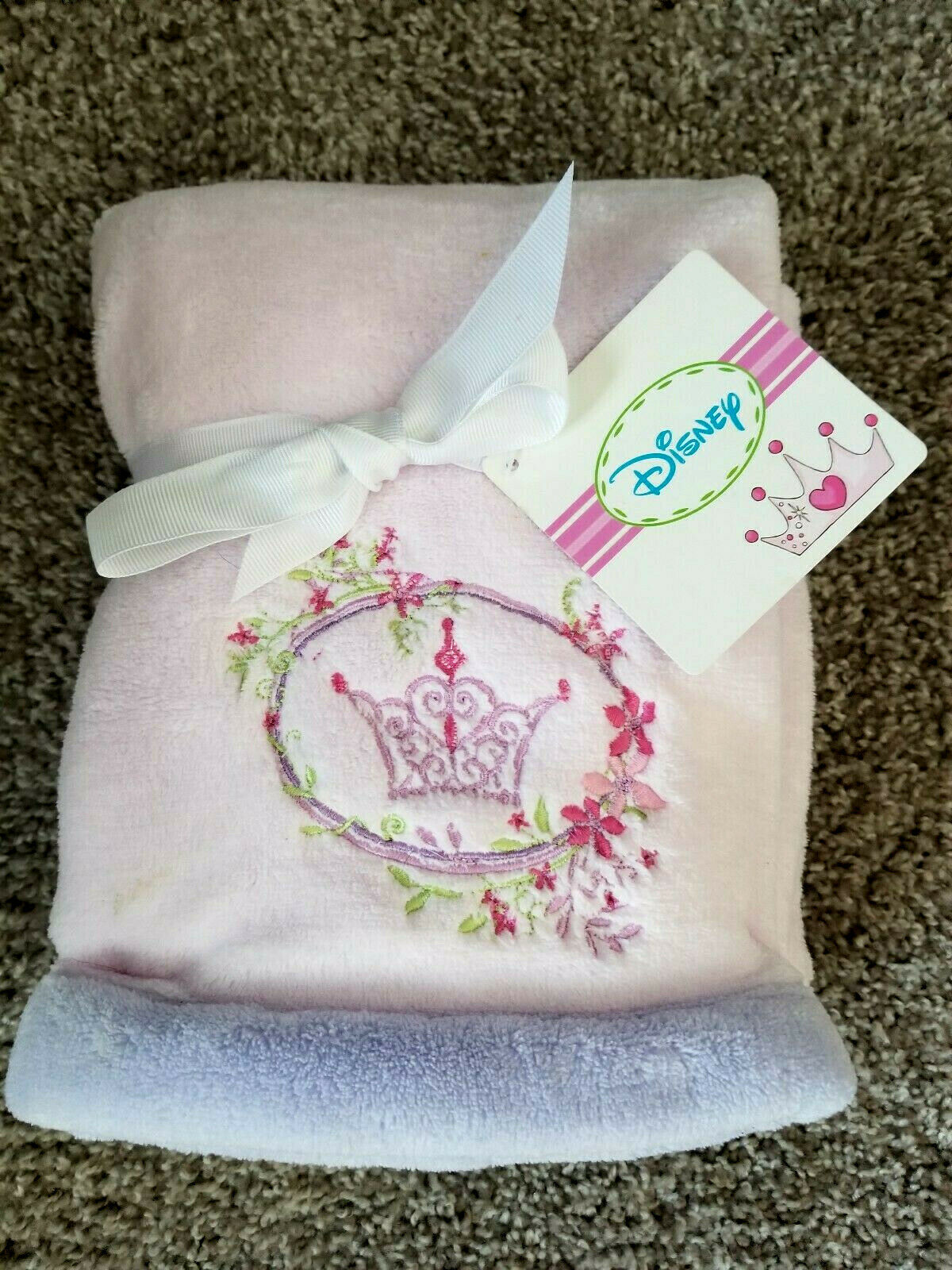 DISNEY Baby Blanket Fairy Tale Dreams Embroidered Pink Boa B