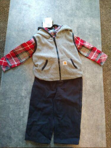 BRAND NEW BABY BOY CARHARTT 3 PIECE OUTFIT SET VEST PLAID SHIRT PANTS 12 MONTH