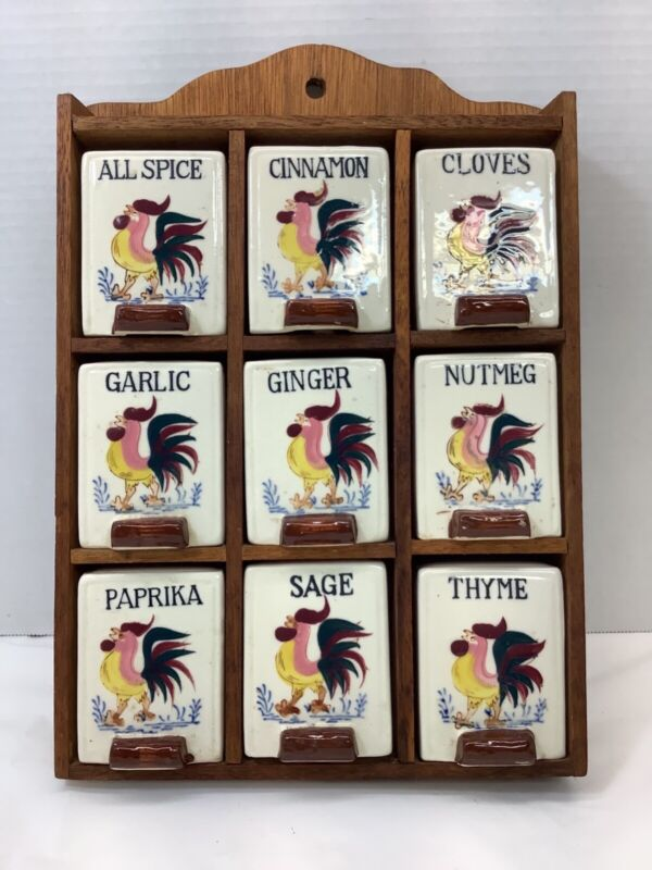 Vintage Ceramic Rooster Spice Rack, Fred Roberts Company, San Francisco