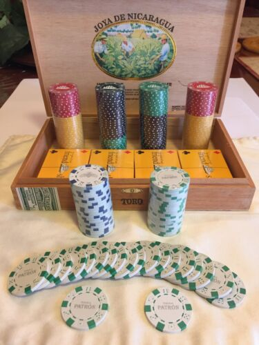 178pc multi-denomination poker chips with 4 sets of cards. Patron, Cutty Sark