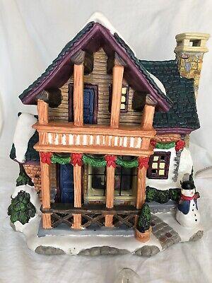 "Ceramic ""Christmas house"" Village Light-Up Building with snowman 3D"