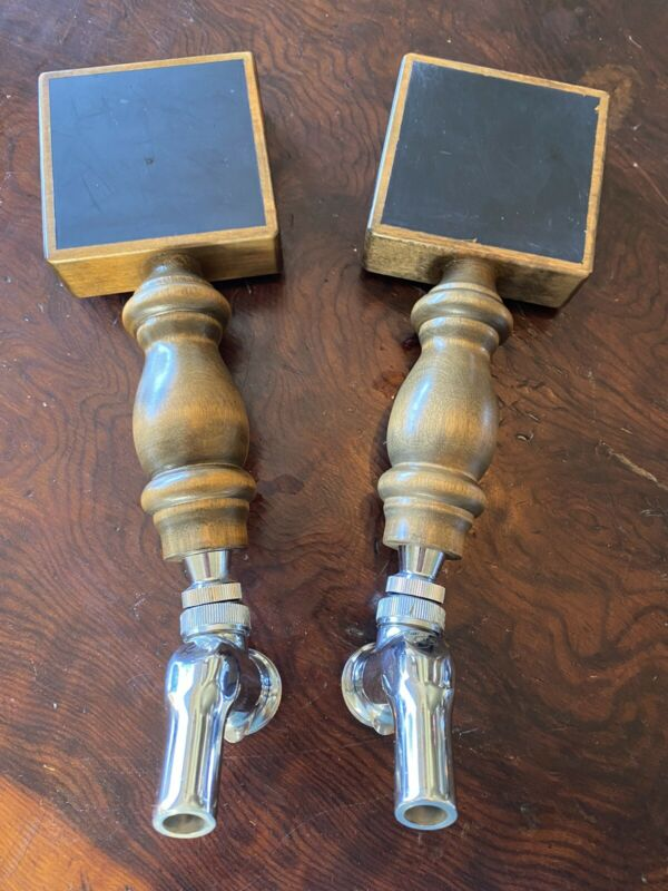Perlick Chrome SS Beer Faucets (2) with Chalk Board Tap Handles