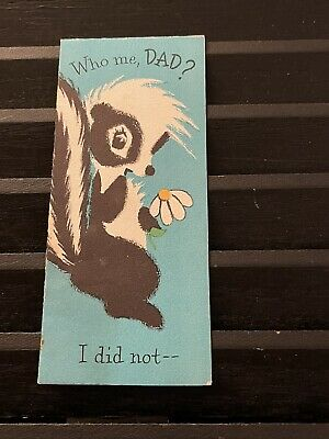 Vintage Greeting Card Fathers Day Cute Skunk