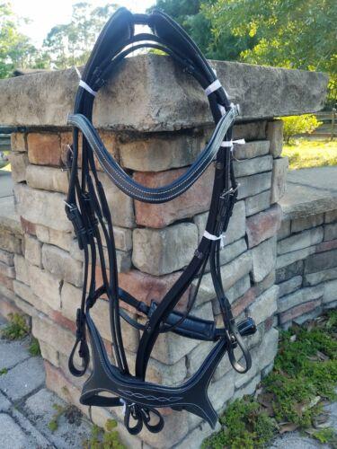 Horse/Warmblood size Monarch Anatomic Black Leather Bridle with Web Reins