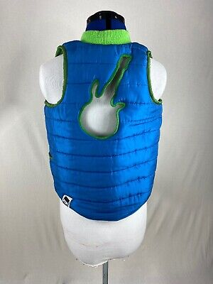 Quilted Puffer Vest Reversible Unisex Boys/Girls Sz 10 Guitar Cut Out On Back  Outback Reversible Vest