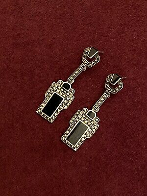 """1920s Art Deco Jewelry: Earrings, Necklaces, Brooch, Bracelets ANTIQUE ART DECO SIGNED """"STERLING""""/ONYX/MARCASITE/ EARRINGS 1920-1930's $65.00 AT vintagedancer.com"""