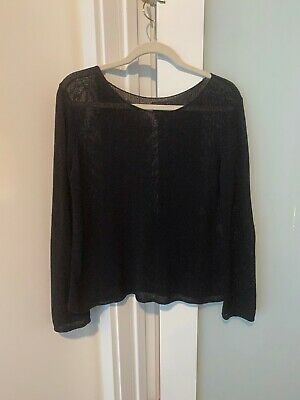 EILEEN FISHER BLACK COTTON BOX TOP SWEATER--EASY CASUAL KNIT--SIZE S/P