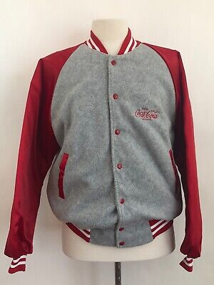Vintage HARTWELL COCA COLA L Red Bomber Varsity Quilted Fleece Button Jacket
