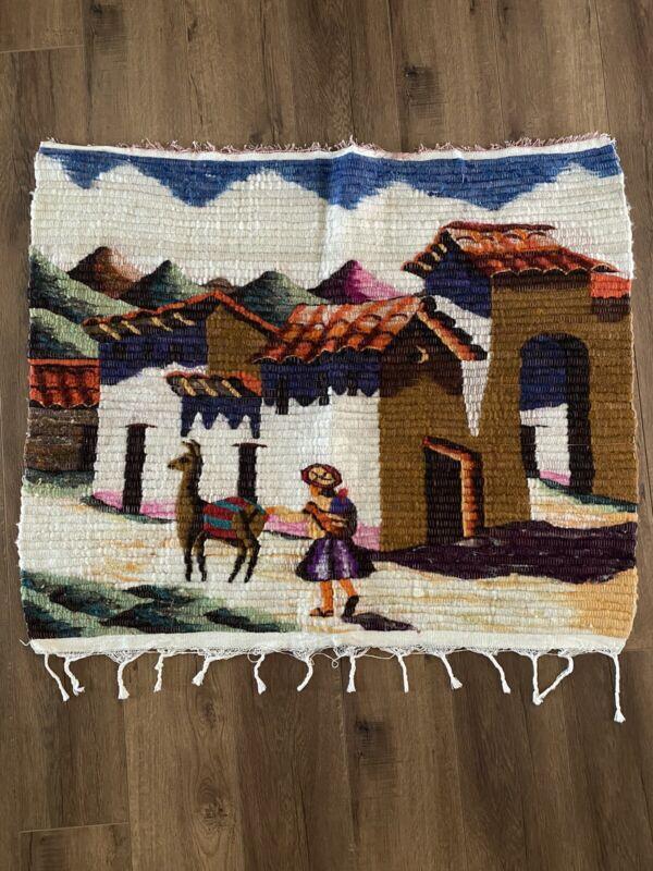 "Peruvian Tapestry Vintage Wool Hand Woven Donkey Girl Village Scene  37"" W 31"" L"
