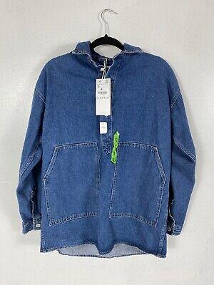 Zara Man Flowy Denim Front Pocket Jean Jacket Shirt Size Small 1821/450/427