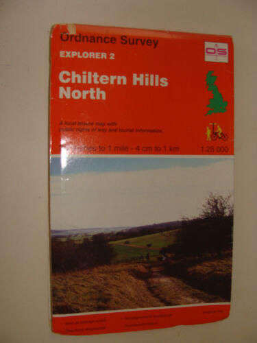 UK  Ordnance Survey Explorer 2 Chiltern Hills North Folding Road Map c 1994