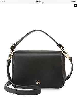 NWT Tory Burch $295 Saffiano Leather Micro Satchel Crossbody Shoulder Bag, Black