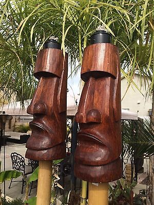 NEW Easter Island Moai Tiki torch set bar mug Smokin Tikis Hawaii 5217
