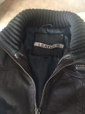 Superdry Leather Jacket Brown Large RARE and HARD TO FIND