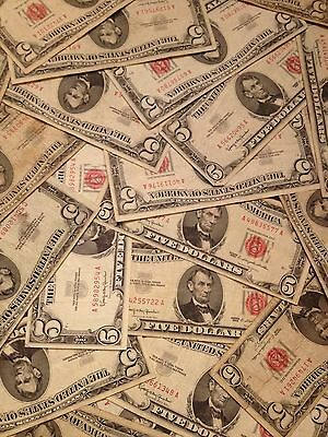☆$5 Red Seal Lincoln Dollars ☆Red Certificate Old Estate Money Lot☆1953 1963☆