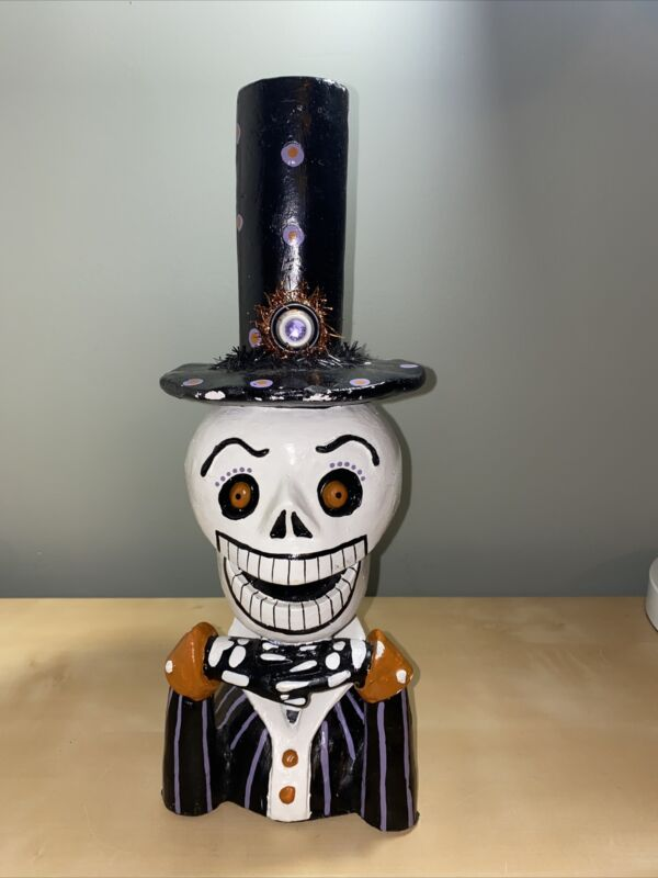 """HALLOWEEN SKULL BUST CLASSY HAT SCULPTURE DECOR- Tabletop- Day Of The Dead- 15"""""""