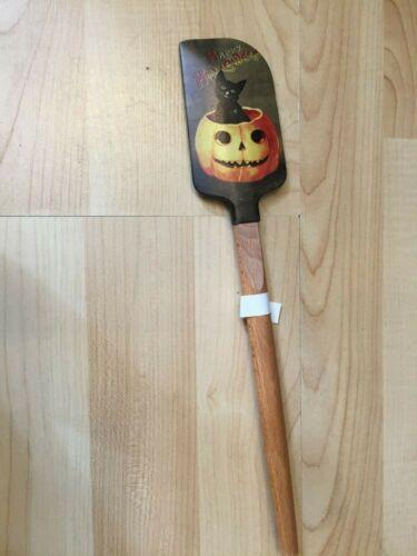 WILLIAMS SONOMA BLACK CAT ORANGE JACK O LANTERN WOOD SPATULA KITCHEN Halloween
