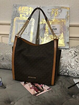 NWT Michael Kors Newbury Chain Shoulder Tote Signature Brown / Acorn