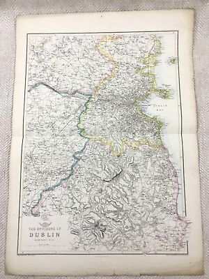 Antique Map of Dublin Ireland Old Hand Coloured 19th Century Original