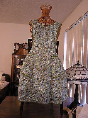 Vintage  Full Apron H Back,  Pretty Blue & Green Print Cotton   LG