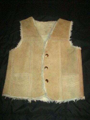 Vintage Sz 5? Kids tan COWBOY Western Suede Leather VEST sherpa Lined child