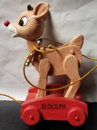 Rudolph The Red Nosed Reindeer Pull Toy Enesco Christmas Ornament