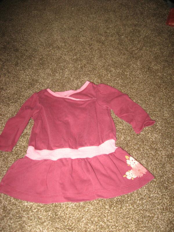 Tea Collection Maroon Cotton Dress Floral Print Long Sleeve Dress GUC 6-12 mo
