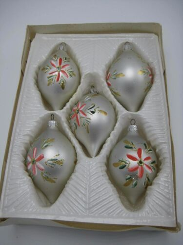Vintage 5 Silver Flower Christmas Classics Glass Ornaments Hand Decorated