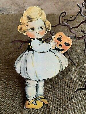 Repro Vintage 1900s Girl Holds Pumpkin Halloween Mask Cardstock Decoration, 10