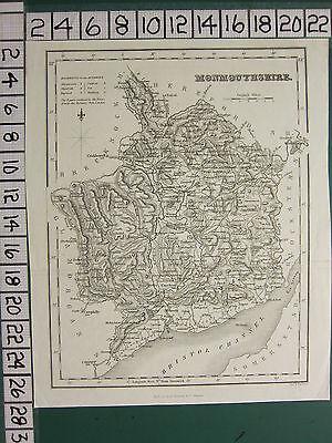 c1840 VICTORIAN MAP ~ MONMOUTHSHIRE ~ ABERGAVENNY USK RAGLAND NEWPORT CAERLEON