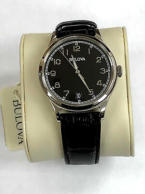 Bulova 96B233 Classic Black Dial Black Leather Strap Unisex/Men's Watch WARRANTY